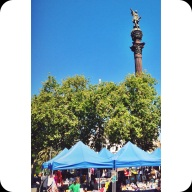 The Colombus Statue, and Sunday Flea Market. The Columbus Statue was a sort of meeting point. It's a statue of Columbus pointing the way to the New World, and greets guests as they enter the city from the Port.