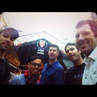 "2 Blue Men, 3 Band Men. From Left: Peter ""Fresh"" Musante, Terry ""Tibidaba"" Tungjungyatham, Jon ""Whoyagonnacall"" Dusoe, Brian ""the Tav"" Tavener, and mî!"
