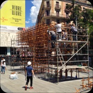 from very ancient, to the very modern Plaça Nova- where we got to see them working on this crazy art installation.