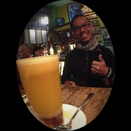 "Curalatodo: the ""cures all"" - Hot OJ with honey and spiced rum! Delicioso!"