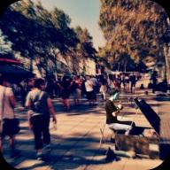 street performer in prep.