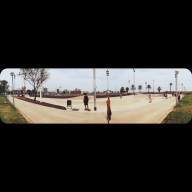 BCN skate park. This is one of the iPhone panoramic pics, that you take from left to right. A girl was walking the other way, so I only caught a sliver of her. Gotta love the digital photo glitches!